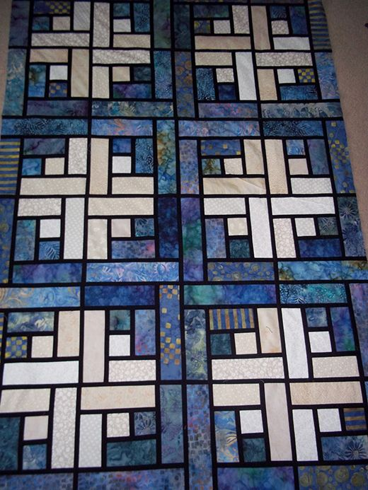 Stained Glass Log Cabin Quilt Free Pattern Designe…