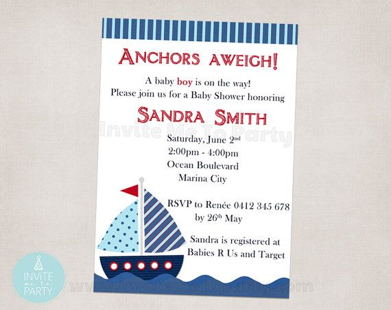 Nautical Baby Shower Invitation / Sailboat Baby by InviteMe2Party, $12.00