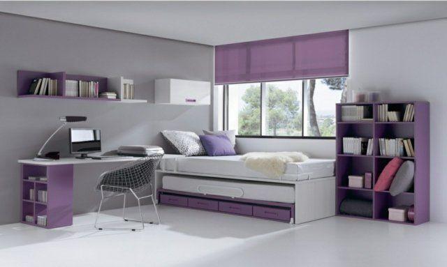 chambre fille en violet et blanc