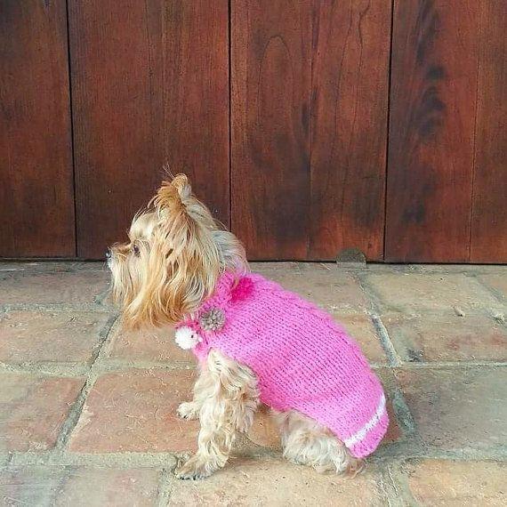 Cable-Knit Dog Sweater / Turtlenec Pom Pom Jumper/ by CasaLunaCo