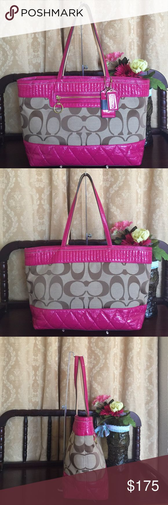 "Coach Poppy Signature poppy tote Coach Poppy Signature Canvas Quilted Pewter Metallic Large Tote Shoulder Bag #18676,color pink ruby/khaki, Signature fabric, framed top and bottom with Liquid Gloss, a quiltedmaterial opulent look of lacquer. a zip-top closure keeps contents safely inside. Signature fabric with bonded fabric trimInside zip, cell phone and multifunction pockets. Zip-top closure, fabric lining. Handles with 9"" drop. Outside pocket. Measure approx:16 1/2"" (L) x 10"" (H) x 5"" (W)…"