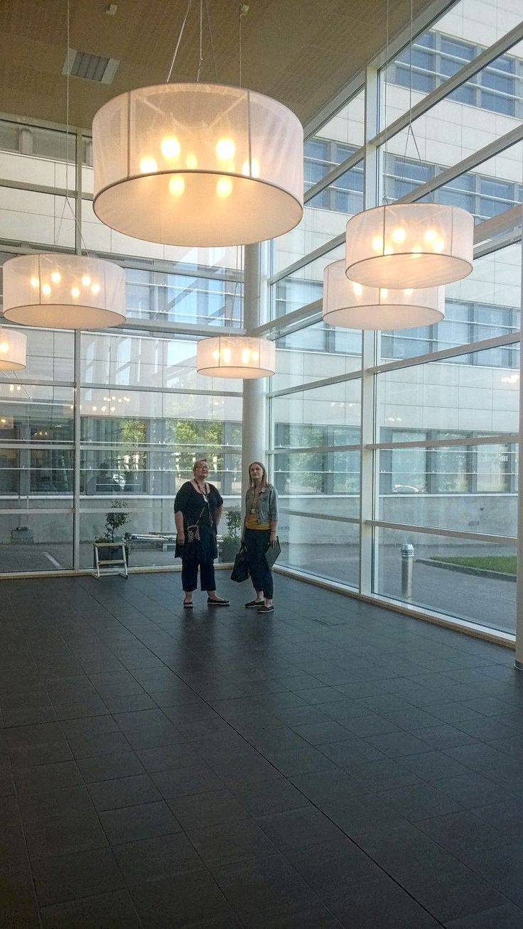 Drum acoustic lighting solution in different sizes+asymmetrical installation  Public Library, Jyväskylä/Finland  - www.jamk.fi