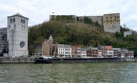 Huy, Belgium; La Collegial et La Fortress sur la Meuse.