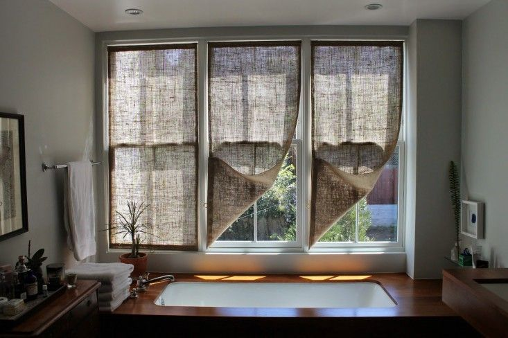DIY burlap window panels by Caitlin Long of the The Shingled House blog | Remodelista