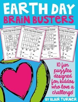 Engage students and build number sense and problem solving skills at the same time! This Earth Day Brain Busters packet is a set of 10 challenging math picture problems that will require students to think flexibly about numbers and their relationships.