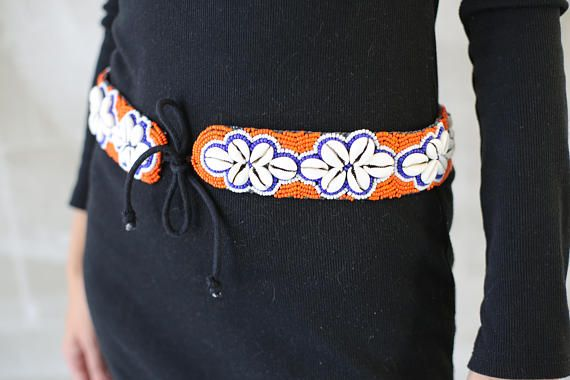 VTG Shell And Beads Embroidered Belt 80s/Handmade Ethnic Boho ethic accesories jewelry hippie hipster 90s costume belt festival summer sea beach woman girl handmade unique