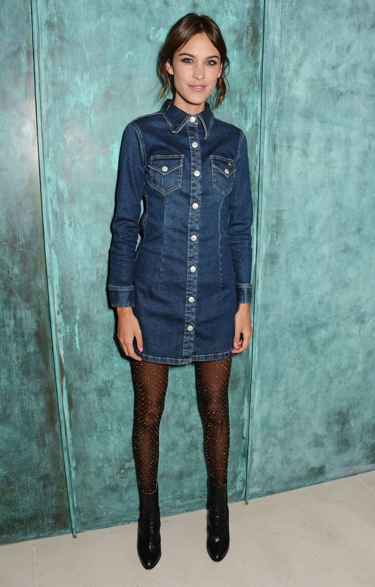 25 Cool Alexa Chung Outfits to Copy | long sleeve denim dress + sheer black tights | Celebrity Street Style | @stylecaster (Sponsored)