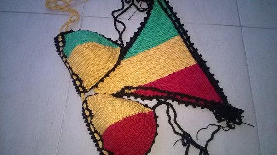 Swim set Jamaica Crochet swimwear Reggae Style by Coloredmood