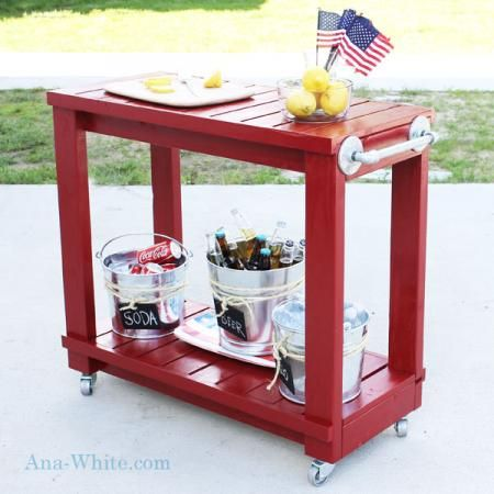 Simple Rolling Bar Cart - Knock-Off Wood - For Stephen