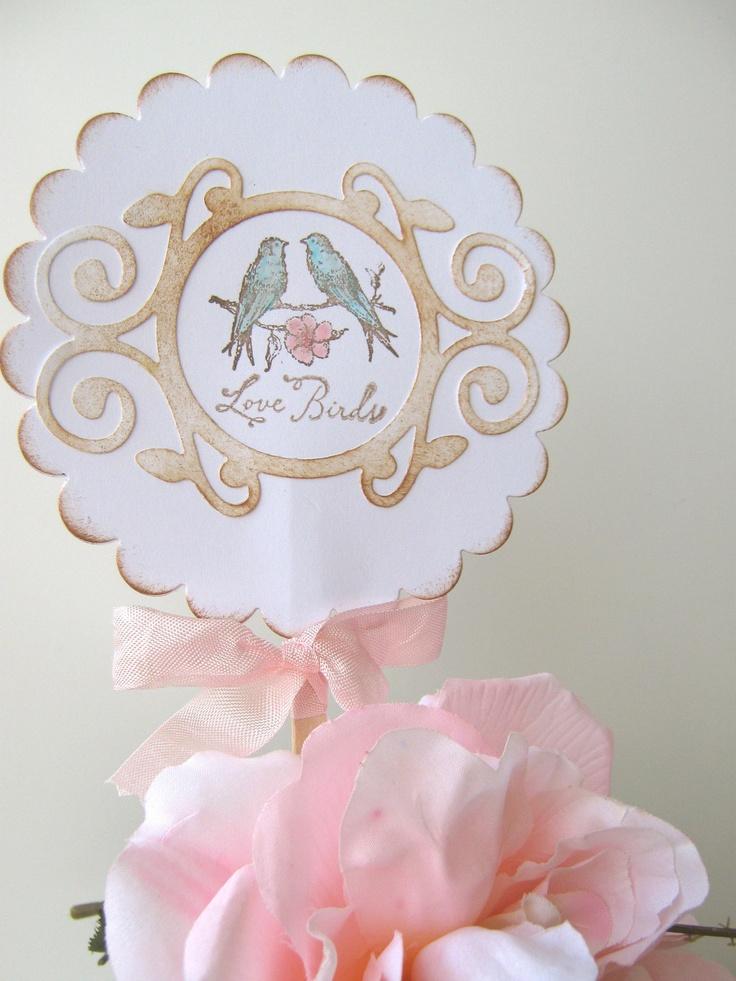 Lovebirds pink and aqua Wedding Cake Topper, Wedding Shower, Anniversary. $14.95, via Etsy.