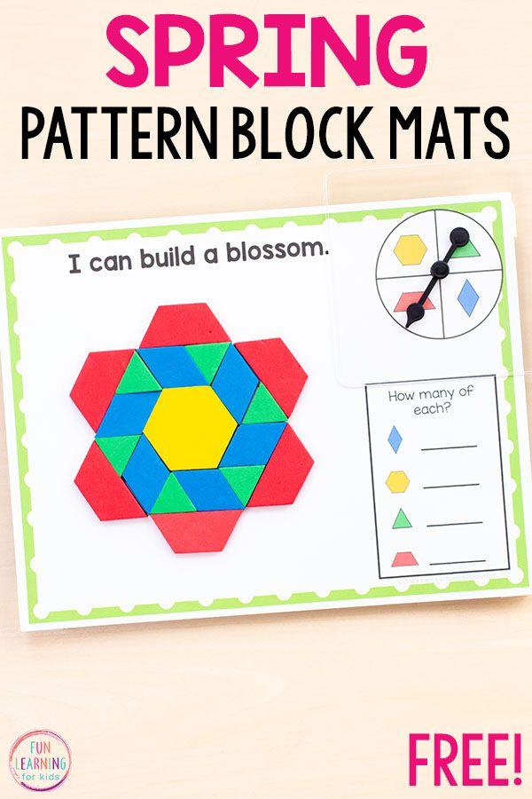 Spring Pattern Block Mats Math Activities Preschool Spring Math