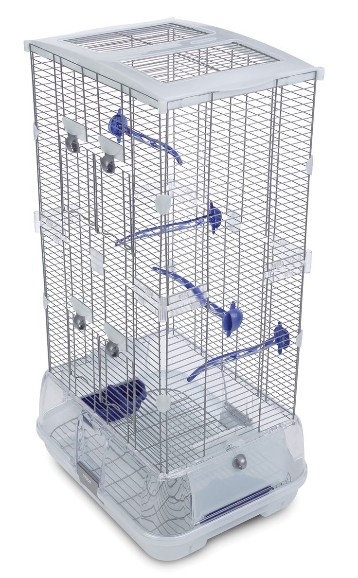 Features:  -For Budgies, Canaries, Lovebirds and Finches.  -Cage detaches from base for fast, easy cleaning.  -Debris guard helps retain waste inside cage.  -Equipped with blue perches and food / wate