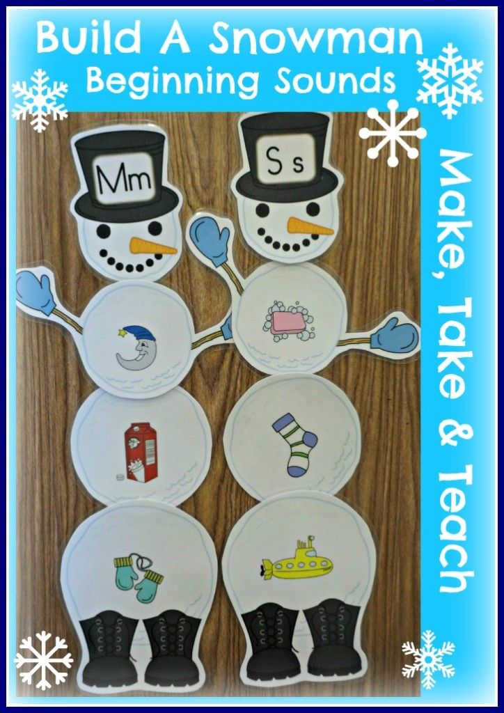 Fun snowman activity for learning letters and sounds.