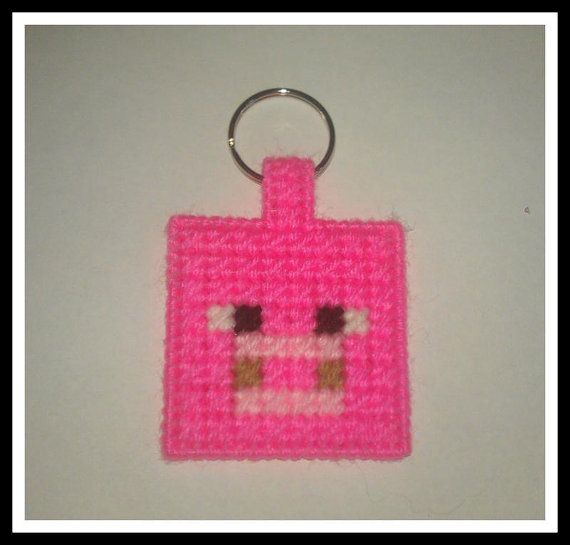Pig Mine Craft Keychain Plastic Canvas by Marsha1991 on Etsy