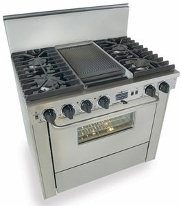 """TTN325-7BW Five Star 36"""" Pro Style Dual-Fuel Self-Cleaning Convection Range with Open Burners - Natural Gas - Stainless Steel"""