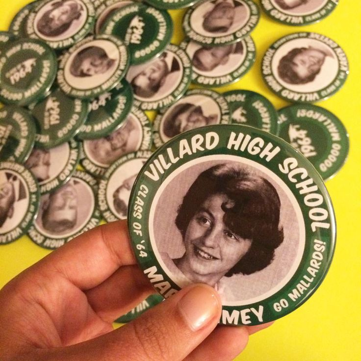 "High school reunion idea! Consider 3"" buttons instead of a name tag at your next high school reunion! Alumni get to wear their high school yearbook photo AND have a fun keepsake to take home with them. Creative and unique :)"