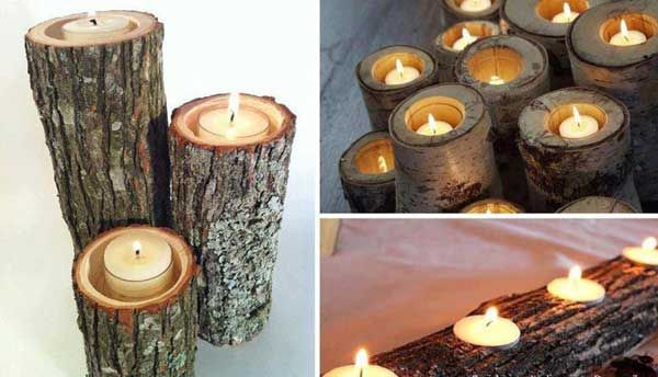 Would be cool to put a couple in our unused fireplace (40 DIY Log Ideas Take Rustic Decor To Your Home)