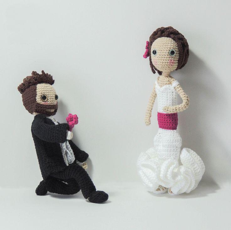 #gifts #wedding #bridal #bride #groom #personalized #customized #dress #amigurumi #couple #dolls #cake #topper #boda #muñecos #white #torta #regalo #personalizado #matrimonio #marriage #etsy #shop