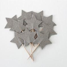 10 décorations pour petits gâteaux étoiles pailletées de couleur argent (cupcakes toppers )