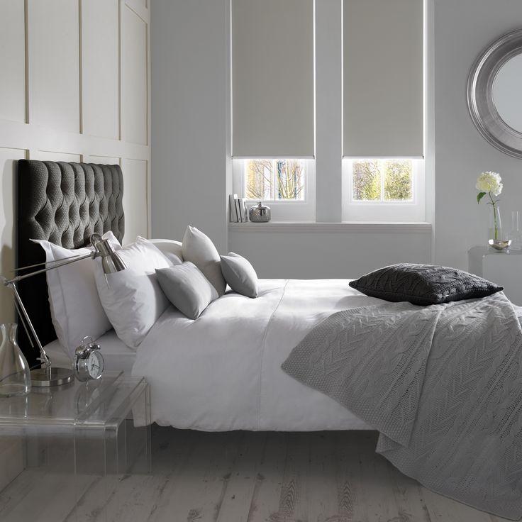 Banlight Duo FR Silver Bedroom Roller Blind