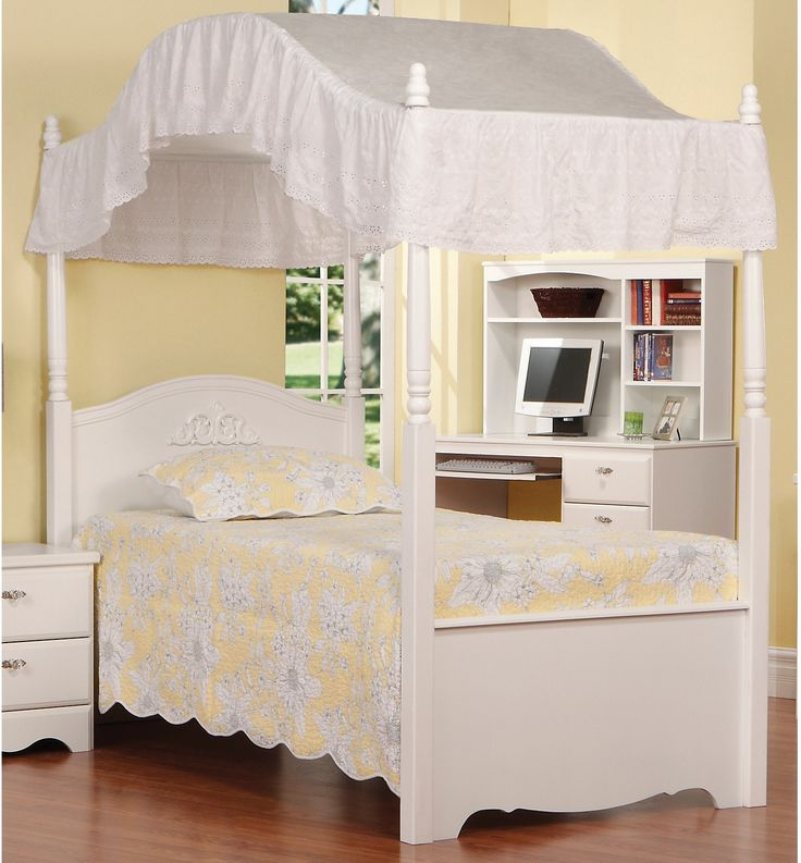 Your little princess will love this twin canopy bed from the Diamond Dreams collection! Finished in a beautiful white lacquer with detailing on the posts, headboard and footboard, your little one will simply love the look of this bed! Sturdily constructed, this bed is both practical and lovely and will remain a treasured piece for years to come. Make your little girl's dreams come true with this beautiful canopy bed from our Diamond Dreams line! (Canopy sold separately.)
