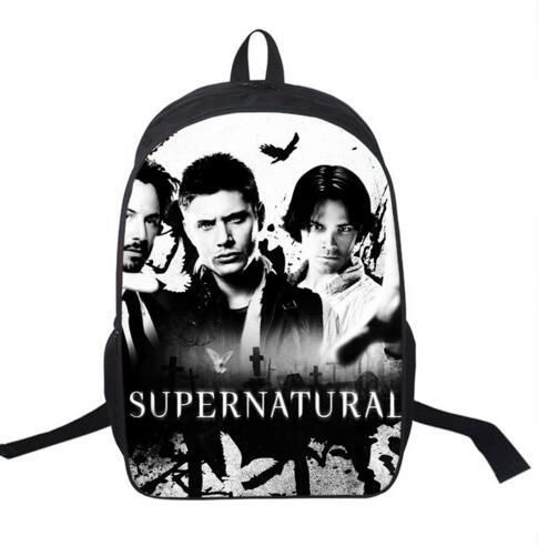 Tv Show Supernatural Backpack Sam Dean Castiel School Bags For Teenagers Men Women Daily Backpack Boys School Backpacks Bookbag
