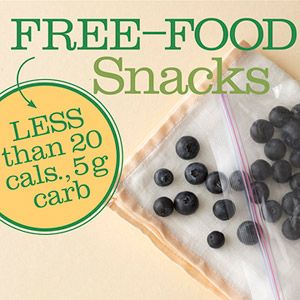 Free-Food Snacks: Low-Calorie, Low-Carb Diabetic Snacks  By Marsha McCulloch, M.S., R.D., L.D.; Reviewed by Hope S. Warshaw, R.D., CDE, BC-ADM, 2011  Free foods have less than 20 calories and 5 grams of carbohydrate per serving. Find out how to use these low-calorie and low-carb foods as healthy diabetic snacks to get you through between-meal cravings or add flavor to dishes.