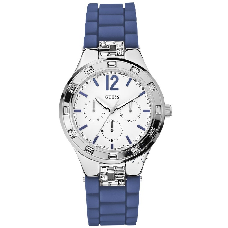 GUESS Crystal Multifunction Blue Rubber Strap Μοντέλο: W10615L3 Τιμή: 147€ http://www.oroloi.gr/product_info.php?products_id=27431