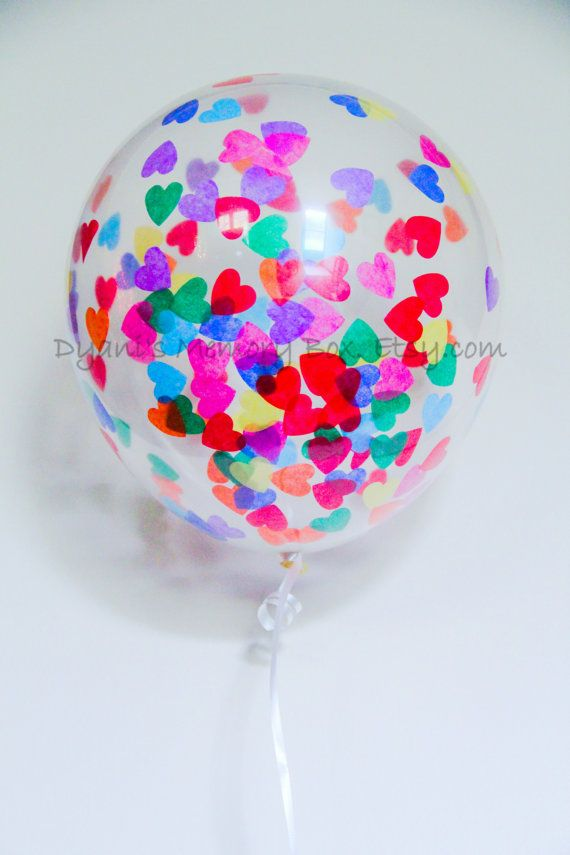 Set of 6 Clear Heart Confetti-Filled Balloons / choose your colors / Biodegradable Latex Balloons