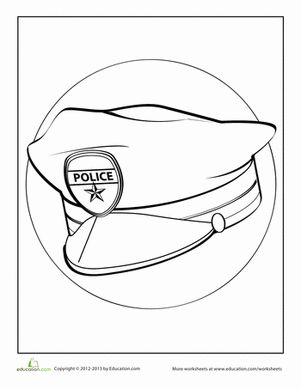 Police Hat Coloring Page Outline Sketch Templates on ppages
