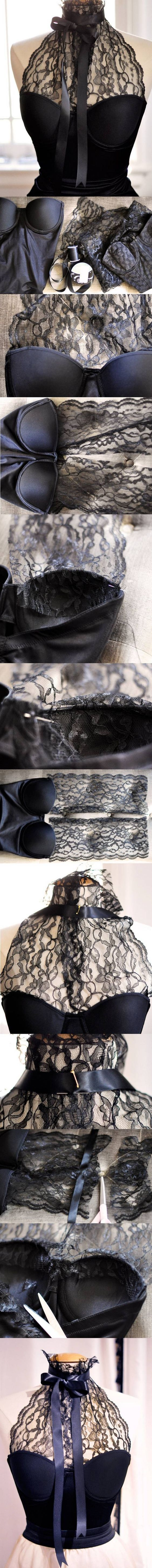 Cute DIY lace halter. I am going to make this for my birthday!!!