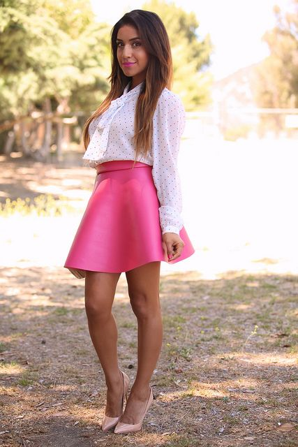 White sheer shirt with pink skirt. #Fashion #style