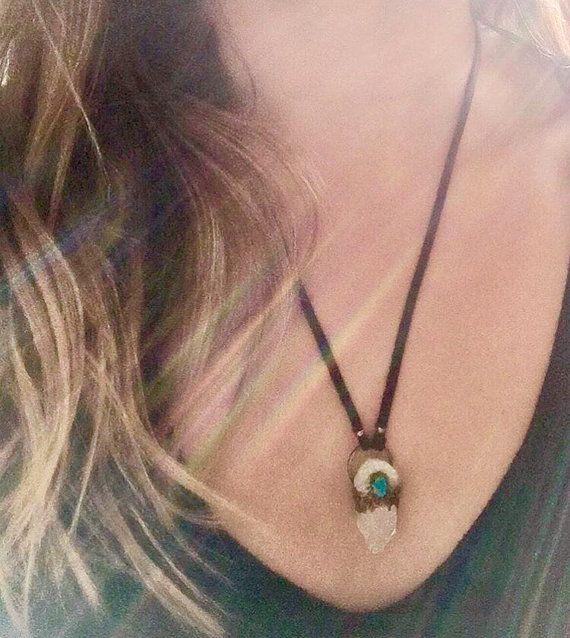 SALE Angel aura quartz & turquoise leather by TheIndigoStudioCo