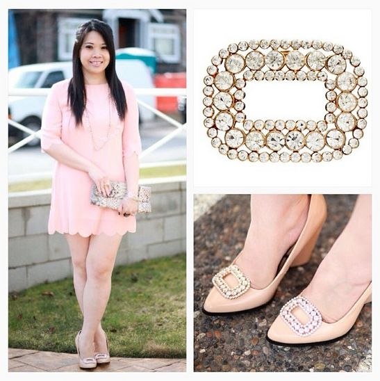 Blogger, White Roses and Coffee, rocking our Regal French Buckle Shoelery shoe clips.