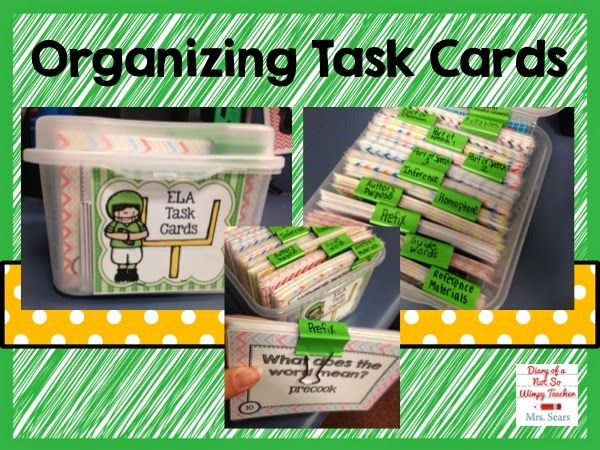 Diary of a Not So WImpy Teacher: How I organize all of my task cards!