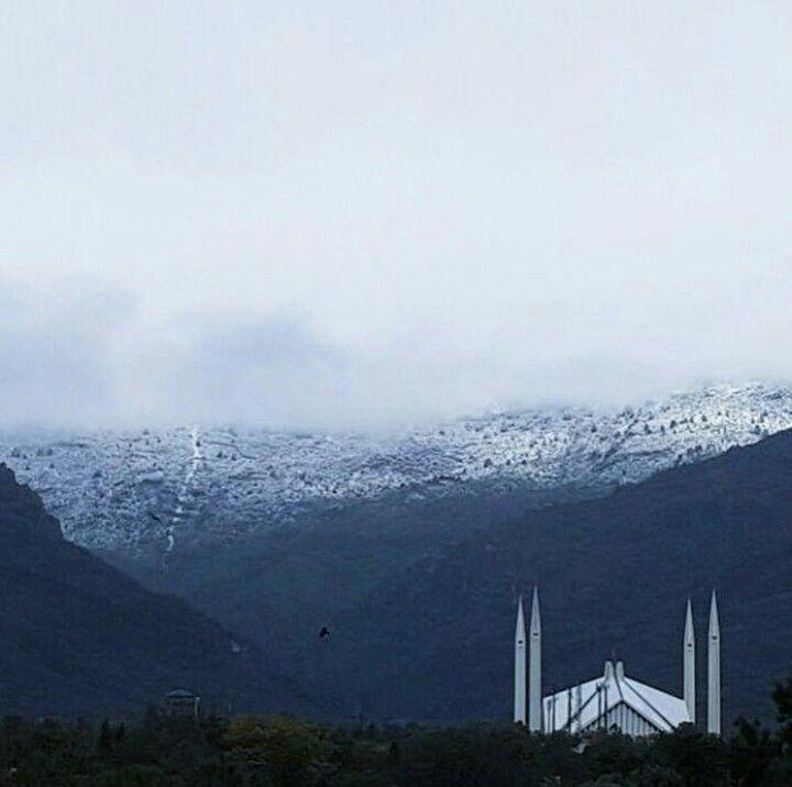 Snow on the Margalla hills. Islamabad, Pakistan.