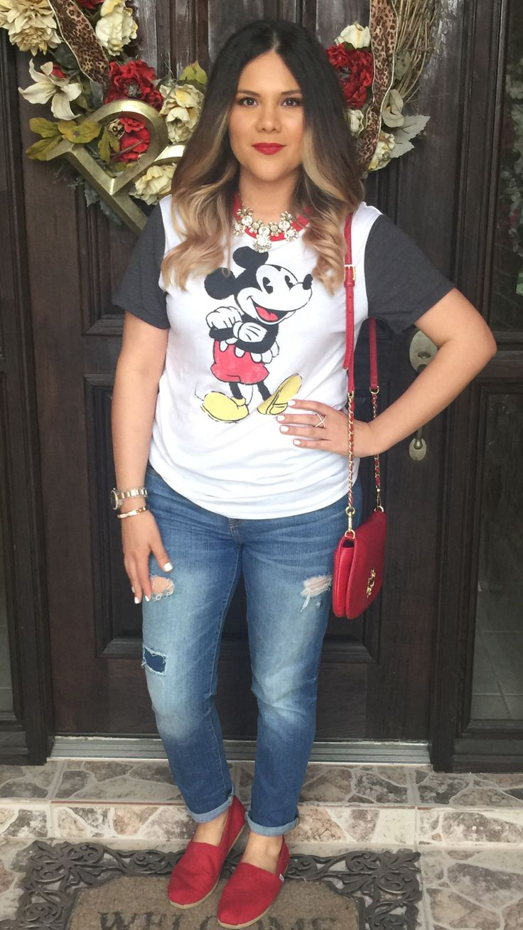 Mickey Mouse tee | Disney | distressed boyfriend jeans | toms | red | outfit | ideas | Tory burch Britten clutch | mommy style | what to wear to disneyworld | Disneyland | Disney on ice