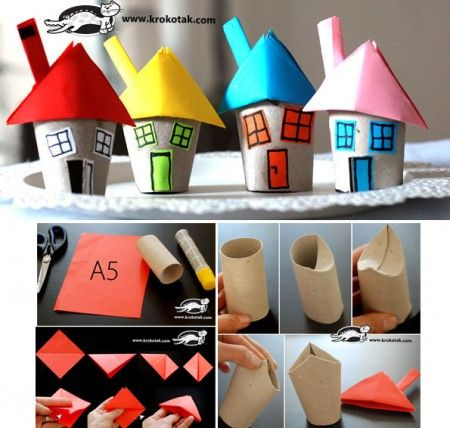 Casitas hechas con los rollos de papel higiénico
