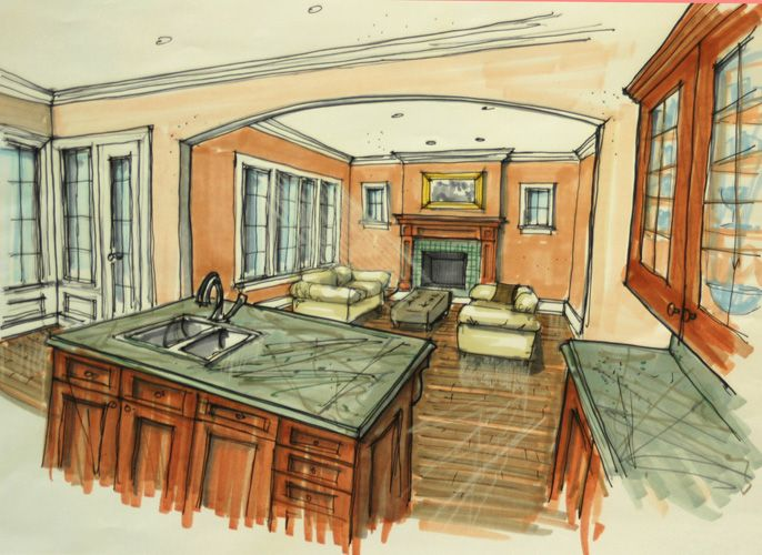 Interior Design Sketches Living Room 224 best perspective: rooms/buildings images on pinterest