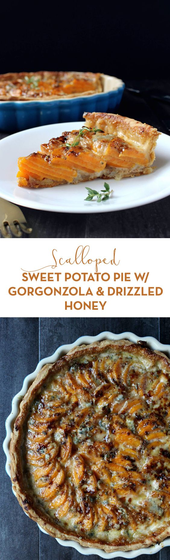 The side dish everyone will rave about! Scalloped Sweet Potato Pie w/ Gorgonzola + Honey is a deliciously sweet & savory way to celebrate the holidays.