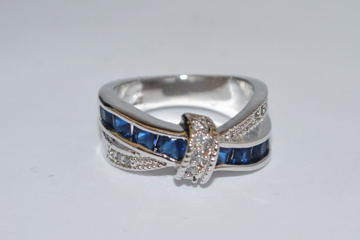 Blue bypass band ring