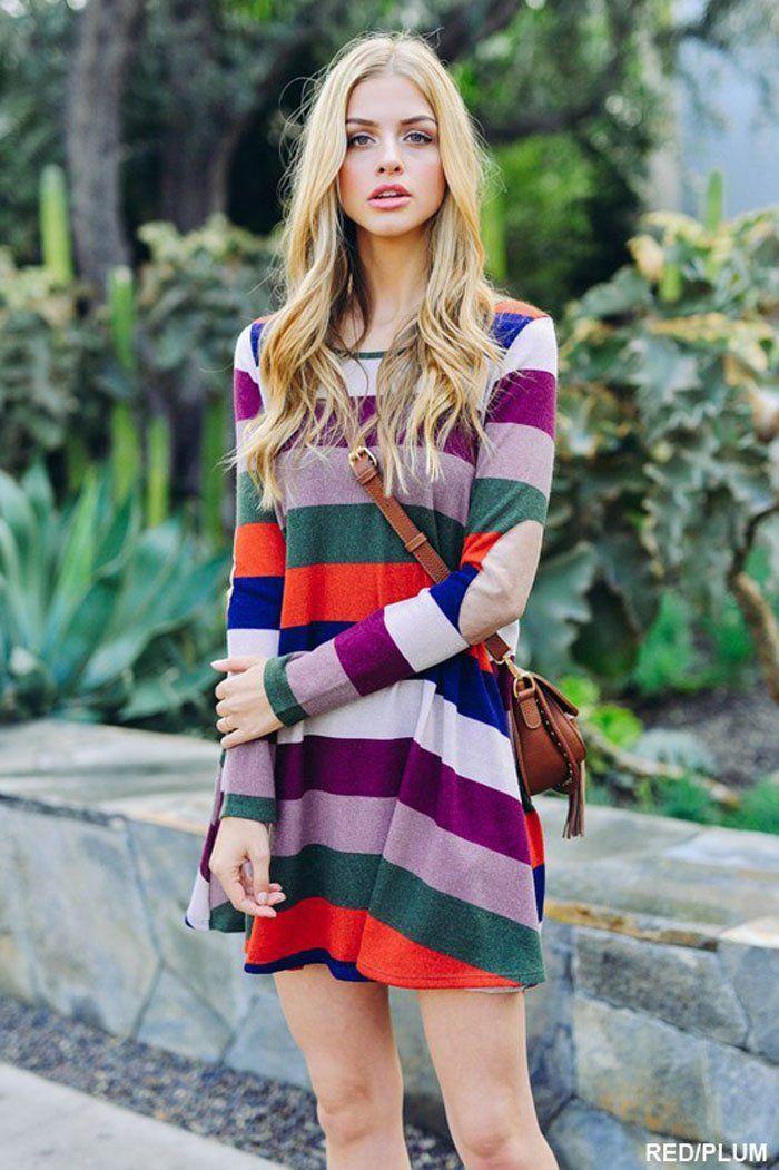 77c76f4a9fe Lovely Color Block Dress - Rust | HanGover | Colorblock dress ...