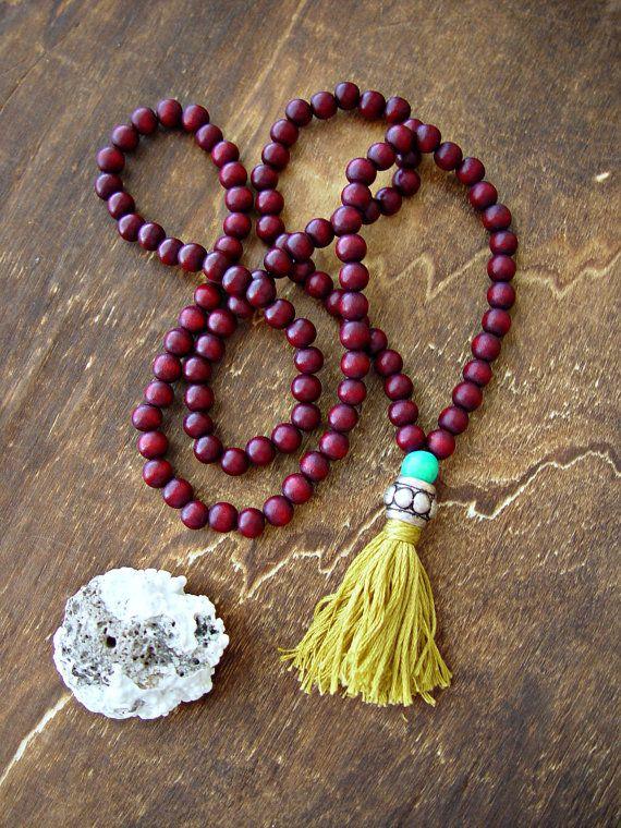 Yoga Mala Necklace 108 beads Mala Necklace by HandcraftedYoga