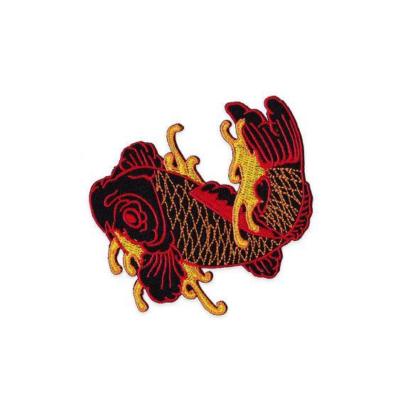 Pesce rossi giapponese tatuaggi ricamati distintivi - pesce ferro su Applique