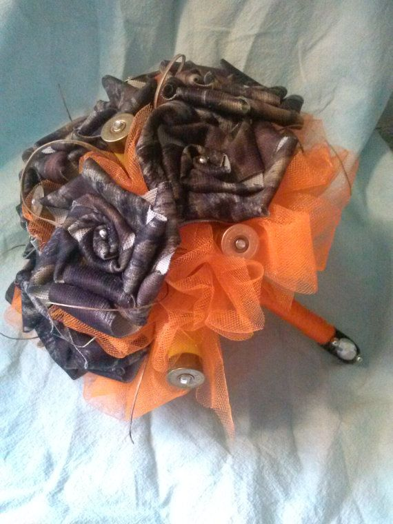 Handmade camo flower bouquet and boutonniere by mandymud on Etsy, $55.00