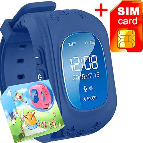 GBD GPS Tracker Smart Watch for Kids with Sim Card Smartwatch Phone Anti-lost Finder SOS Children Fitness Tracker Wrist Bracelet with Pedometer Parents Control App for Smartphone (Royal Blue) * You can get more details by clicking on the image.