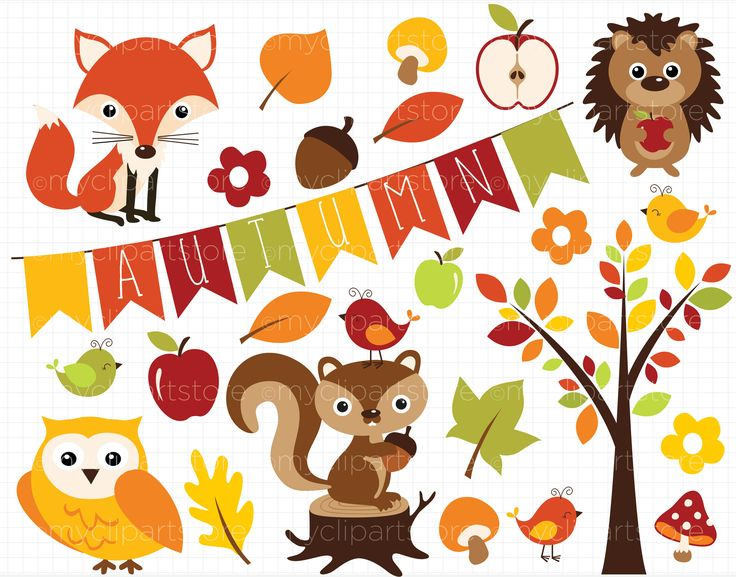 Clipart - Fall / Autumn Critters by MyClipArtStore on @creativemarket