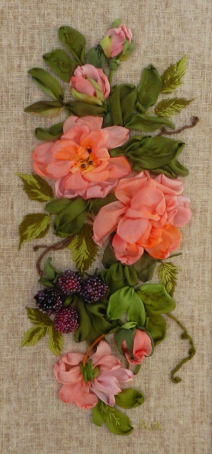 Silk ribbon roses by Valentina Ilkova, Nakhodka, Russia
