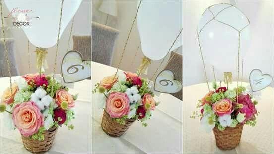 White baloon basket flower arrangement