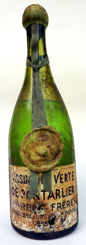Very olde french absinthe bottle of the legendary Pontarlier trademark.
